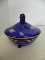 cobalt blue covered candy dish