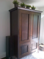 SOLID WOOD espresso Armoire OPEN TO OFFERS!!