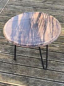 Refurbished Oak Barrel Coffee Table with Hairpin Legs