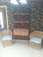 Wrought Iron and Rattan Baker's Rack Shelf with Drawers