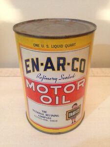 FULL ENARCO motor oil tin can gas pump sign