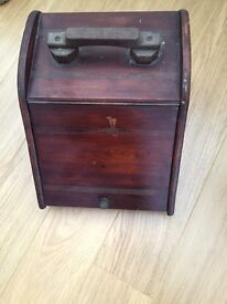 Edwardian mahogany coal scuttle with liner .