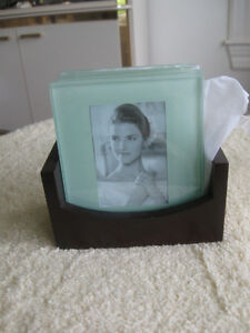 ATTRACTIVE & PERSONALIZED 5-Pc. GLASS COASTER SET & WOODEN STAND