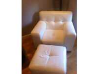 DFS/LARGE , white leather, armchair and stool £85