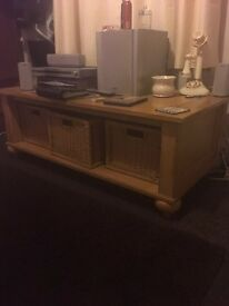 Pine wood table with 3 boxes for storage
