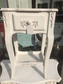 Shabby Chic Antique White Ornate Bedside Table