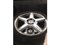 """Mercedes 17"""" AMG alloys x 4 with great tyres"""