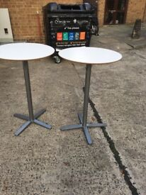 2 x tall white round table on clearance @ just £15 each Only!!