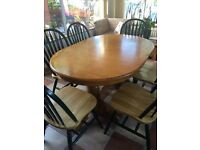 Country Laura Ashley style extending table + 6 chairs