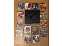PS3 Slim Console 2x Controllers 14x Top Games