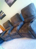 3 piece suede dark brown theater style reclining sectional
