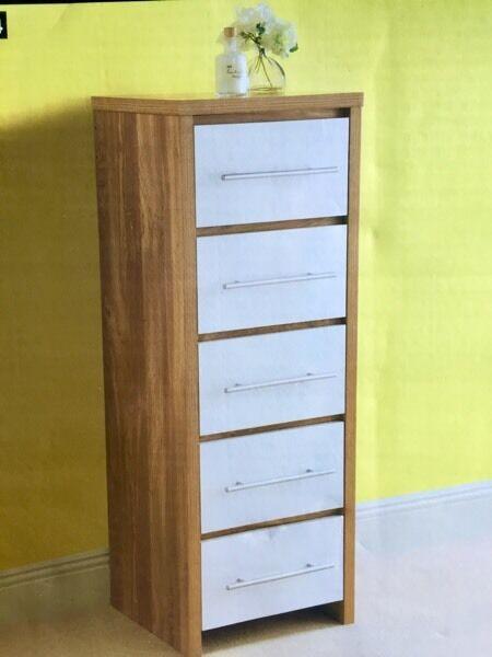 Geneva Chest Of 5 Drawers Modern Oak And White Gloss Brand New
