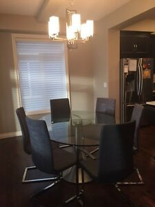 Elegant Glass Top Dining Table & Chairs