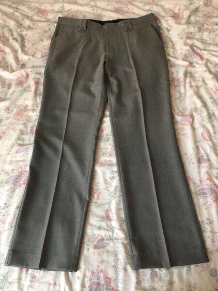 Men's Burton Smart Slim Fit Grey Trousers Size 36R