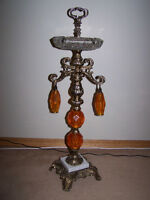 RETRO & GORGEOUS TALL CRYSTAL ASHTRAY with ORANGE LUCITE DANGLES