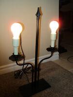 BLACK IRON 2 LIGHT LAMP FOR SALE