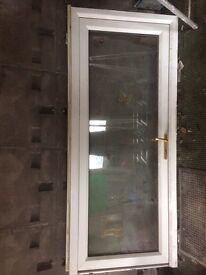 White upvc clear glass door