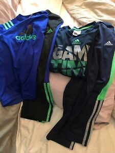 Two Adidas Long Sleeve Pant/Shirt kids Set size 7.