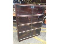 Stunning Vintage Minty Solid Oak 3 Tier Sectional Bookcase with Sliding Glazed doors