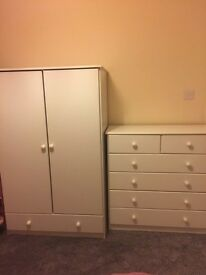 Wardrobe drawers and matching cot bed