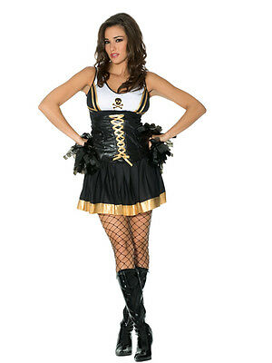Gothic Cheerleader 4pc Costume M 10-12 UK Fancy Dress Hen Night Party Halloween