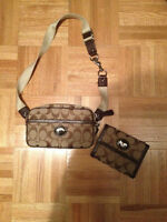 Coach Signature Khaki Fanny pack and matching wallet NEW