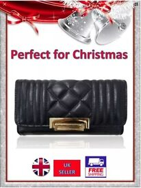 CHRISTMAS Ladies ~QUILTED FLAP OVER PURSE~ with Gold Turn Clasp *Excellent Quality*