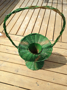 A GREEN WICKER WEDDING  FLOWER BASKET  WITH  METAL CONTAINER