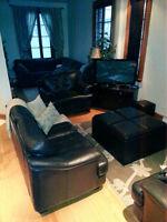 Set de salon en cuir + pouf multi-fonctionnel + meuble télé