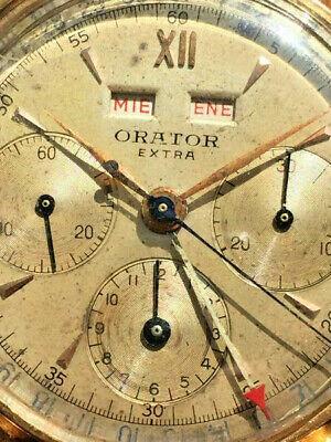 vintage Orator 18kt gold case  rare Valjoux 72C triple calendar chronograph
