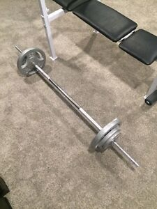 Bench, bar and 80lbs of weight