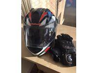 Schubert motorcycle crash helmet and gloves.