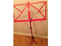 Red music stand with case