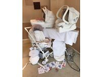 Chicco limited edition white Pram travel system set used like new