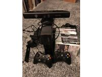XBOX 360 250GB Console, 2x Controllers, Kinect + 14 Games