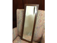 Charming small antique beveled rectangle mirror, wooden frame
