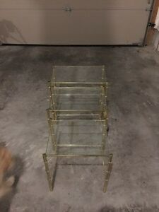 3 brass frame glass tables