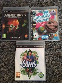 PS3 sims3. little big planet. Mine craft.
