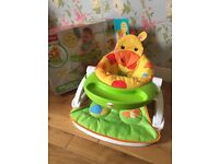 Fisher price sit me up floor seat/ feeding chair with removable tray (boxed)