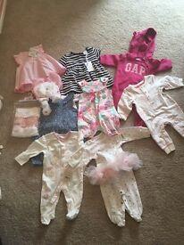 Newborn/upto 3 months girls babygrows bundle