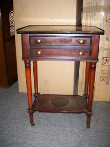ANTIQUE WOODEN TABLE WITH METAL CASTERS