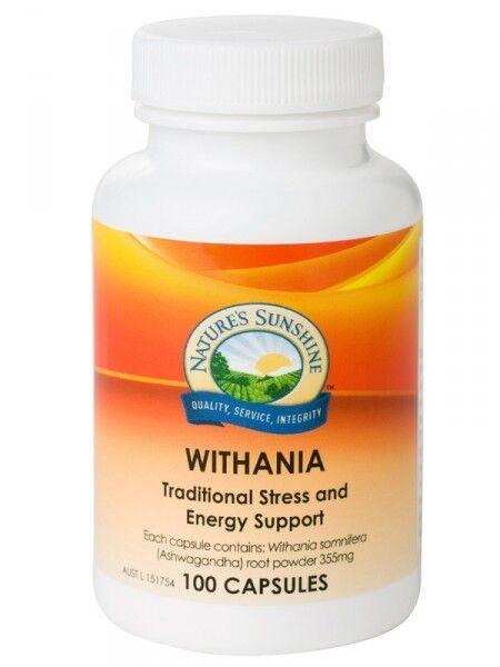 NATURE'S SUNSHINE Withania 355mg 100 capsules Ashwagandha stress energy stamina