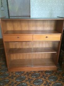Nathan Danish retro/vintage. Solid teak and glass bookcase/hallway unit/sideboard. Mid century