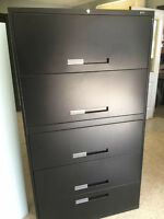 5 Drawer Lateral Black Filing Cabinets- 8 available