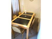 NEEDS TO GO TODAY..!!!! Family Black Marble/pine Dining table, (Black Marble/Pine ) and 5 chairs.