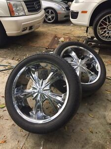 "22"" chrome Milanie rims and tires"