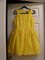 OLD NAVY BRIGHT YELLOW 100% COTTON FLARED SUMMER DRESS NEW SZ.8