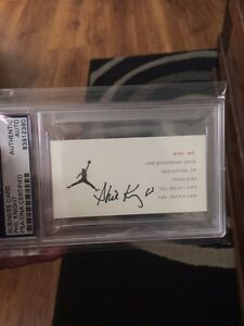 Phil Knight founder of NIKE , signed JORDAN logo Business card