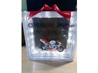 Glass Block with Model Yamaha R1 inside