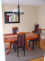 Solid Cherry Dining Table w/ leaf and 6 chairs